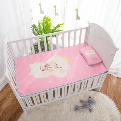 2019新款-幼儿园儿童凉席卡通冰丝席 冰丝小枕头(含荞麦壳)25*40cm 皇冠小猪
