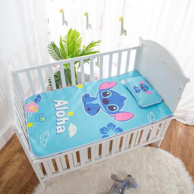 2019新款-幼儿园儿童凉席卡通冰丝席 冰丝小枕头(含荞麦壳)25*40cm 小蓝