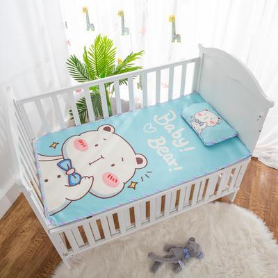 2019新款-幼儿园儿童凉席卡通冰丝席 冰丝小枕头(含荞麦壳)25*40cm 小熊