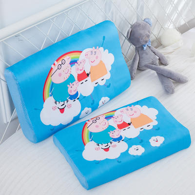 2019新款- 儿童冰丝乳胶枕卡通乳胶枕套 单枕套44*27*6 彩虹小猪