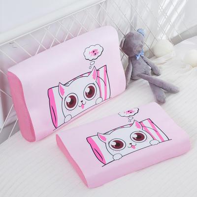 2019新款- 儿童冰丝乳胶枕卡通乳胶枕套 单枕套44*27*6 睡觉猫咪
