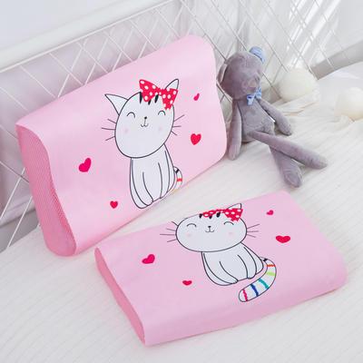 2019新款- 儿童冰丝乳胶枕卡通乳胶枕套 单枕套44*27*6 微笑猫