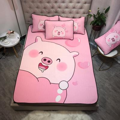 2019新款-可机洗大版卡通亲肤空调软席三件套 150*200cm 小猪猪