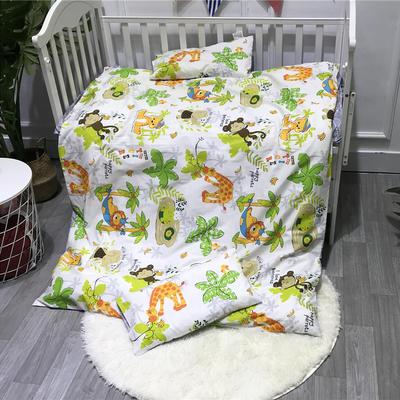 2019新款-ins简约小清新卡通幼儿园全棉三件套被子6件套 珍珠棉枕芯 动物园