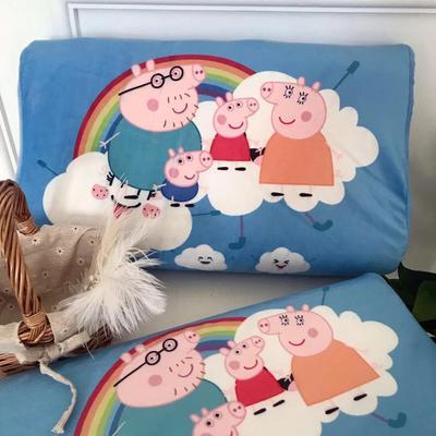 2019新款冬款保暖儿童乳胶枕卡通乳胶枕套 单枕套27*44*6cm 彩虹猪