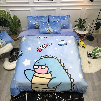 2019新款-卡通韩国宝宝绒水晶绒四件套 床单款三件套1.2m(4英尺)床 OK恐龙