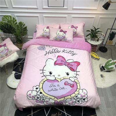 2019新款-卡通韩国宝宝绒水晶绒四件套 床单款三件套1.2m(4英尺)床 爱心猫