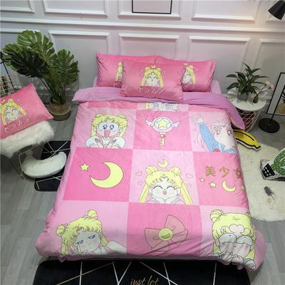 2019新款-卡通韩国宝宝绒水晶绒四件套 床单款三件套1.2m(4英尺)床 表情包美少女