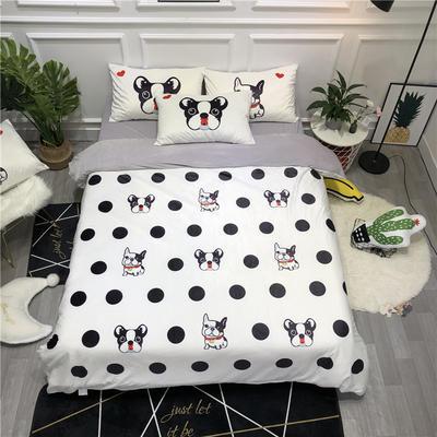 2019新款-卡通韩国宝宝绒水晶绒四件套 床单款三件套1.2m(4英尺)床 法斗