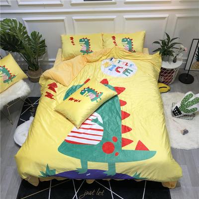 2019新款-卡通韩国宝宝绒水晶绒四件套 床单款三件套1.2m(4英尺)床 恐龙黄