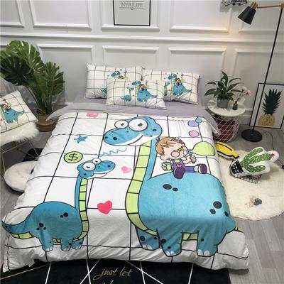 2019新款-卡通韩国宝宝绒水晶绒四件套 床单款三件套1.2m(4英尺)床 恐龙男孩