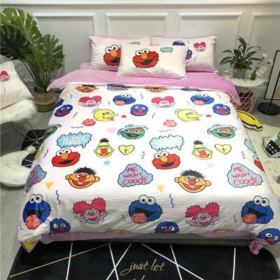 2019新款-卡通韩国宝宝绒水晶绒四件套 床单款三件套1.2m(4英尺)床 芝麻街粉