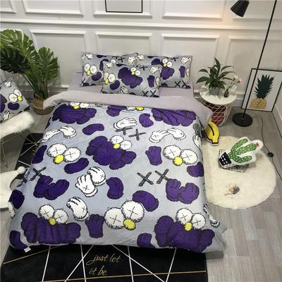 2019新款-卡通韩国宝宝绒水晶绒四件套 床单款三件套1.2m(4英尺)床 芝麻街灰