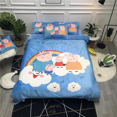 2019新款-卡通韩国宝宝绒水晶绒四件套 床单款三件套1.2m(4英尺)床 彩虹猪
