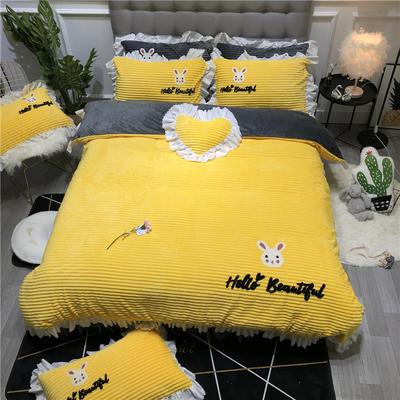 2019新款-ins韩版魔法绒毛巾绣四件套工艺款床裙式少女风牛奶绒四件套 床裙款1.8m(6英尺)床 美丽的小兔子-黄色