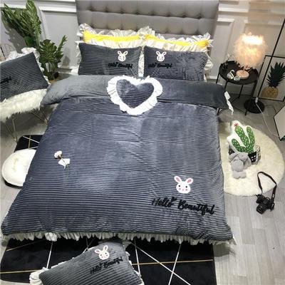 2019新款-ins韩版魔法绒毛巾绣四件套工艺款床裙式少女风牛奶绒四件套 床裙款1.8m(6英尺)床 美丽的小兔子-灰色
