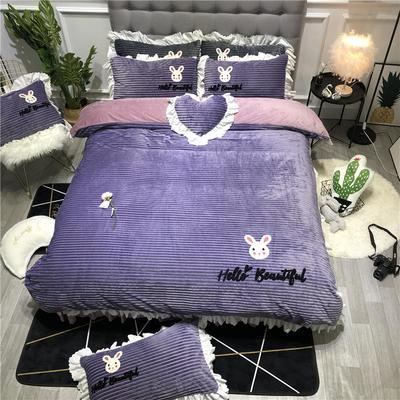 2019新款-ins韩版魔法绒毛巾绣四件套工艺款床裙式少女风牛奶绒四件套 床裙款1.8m(6英尺)床 美丽的小兔子-紫色