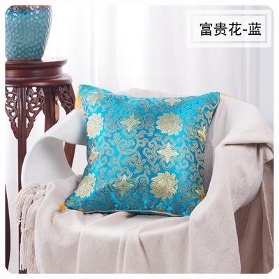 45丝绸抱枕 45x45cm(无纺布芯子) 富贵花蓝