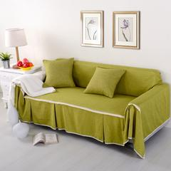 仿麻纯色沙发罩 全盖型沙发巾 简约现代沙发套 抱枕套:45*45cm 仿麻-秋绿