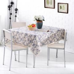 棉麻桌布 餐桌布 茶几布 台布 饭店桌布 130*130cm 蓝瓷风情