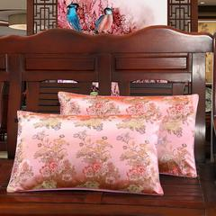 【壹零】中国风婚庆七彩织锦缎软缎仿真丝枕套 木质沙发靠垫 42*70cm(单枕套1只) 粉色回忆