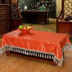 古典风中式丝绸桌布 绸缎茶几布 木质家具盖布 台布 120*170cm 香水味-橘红