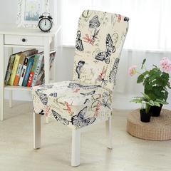 壹零 弹力通用椅套 餐厅椅子套 凳子套 宴会椅子套 彩蝶飞舞