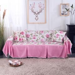 壹零 田园风提花印花沙发罩 沙发套 全盖沙发巾 沙发盖布 单人规格205*200 粉陌