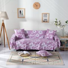 壹零 水洗棉薄款沙发罩 沙发巾 全盖型沙发套 45*45抱枕套 木槿-浅咖