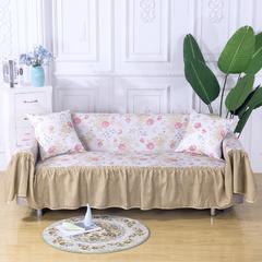 (双面款)田园风沙发罩 全盖沙发套 沙发巾 沙发套 205*260cm ( 双人座款) 清风拂面-咖