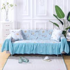 (双面款)田园风沙发罩 全盖沙发套 沙发巾 沙发套 170*260cm( 左贵妃款) 清莹蓝
