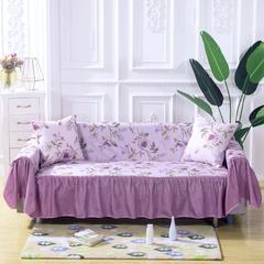 (双面款)田园风沙发罩 全盖沙发套 沙发巾 沙发套 205*260cm ( 双人座款) 清莹紫