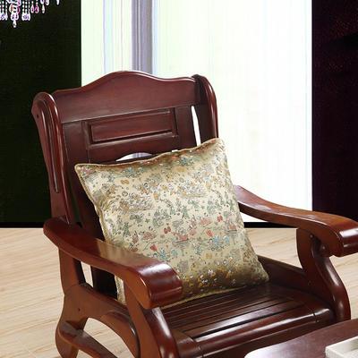 中国风60丝绸款60*60大号抱枕套 靠垫套 中式红木家具用靠垫皮 60X60cm(单套子) 百子图   金