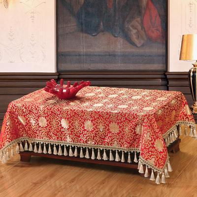 中国风丝绸桌布 古典风茶几布 明清风台布 120*170 富贵花红