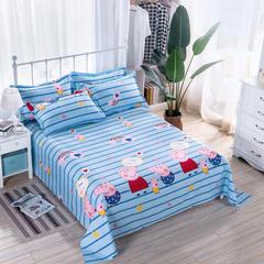 2018新款 128*68纯棉单品床单 120*230 我爱佩奇蓝