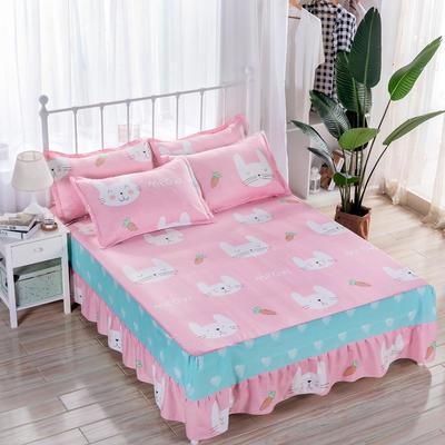 2018新款 128*68纯棉单品床裙 120*200 可可兔粉