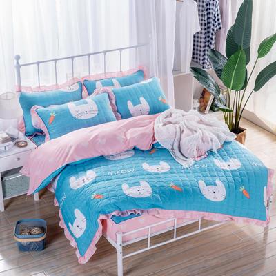 2018新款全套夹棉床笠四件套 155夹被120夹笠夹枕一对 可可兔蓝