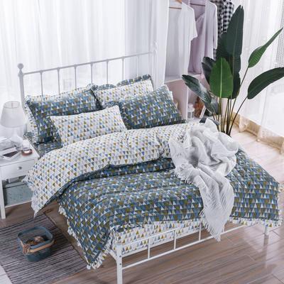 2018新款全套夹棉床笠四件套 155夹被120夹笠夹枕一对 涂鸦灰