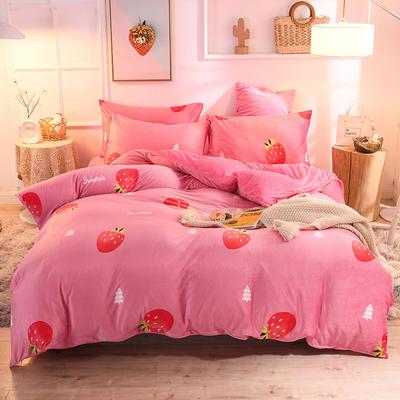 2019新款超柔水晶绒床单款四件套床笠款珊瑚绒法莱绒法兰绒保暖 枕套/对 爱心草莓