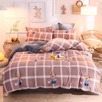 2019新款超柔水晶绒床单款四件套床笠款珊瑚绒法莱绒法兰绒保暖 枕套/对 宝贝熊
