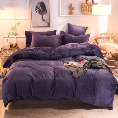 2019新款超柔水晶绒床单款四件套床笠款珊瑚绒法莱绒法兰绒保暖 枕套/对 帝王紫