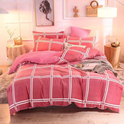 2019新款超柔水晶绒床单款四件套床笠款珊瑚绒法莱绒法兰绒保暖 枕套/对 格律