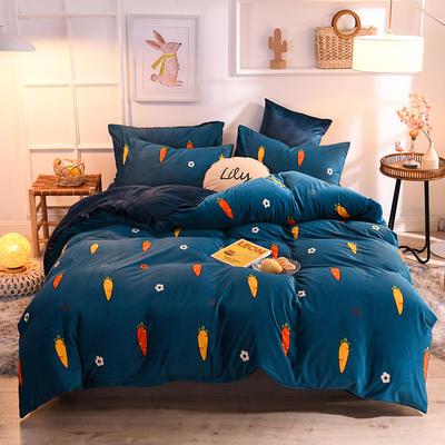 2019新款超柔水晶绒床单款四件套床笠款珊瑚绒法莱绒法兰绒保暖 枕套/对 胡萝卜