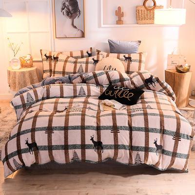 2019新款超柔水晶绒床单款四件套床笠款珊瑚绒法莱绒法兰绒保暖 枕套/对 麋鹿