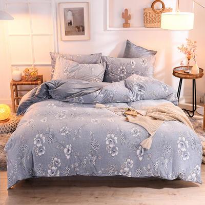 2019新款超柔水晶绒床单款四件套床笠款珊瑚绒法莱绒法兰绒保暖 枕套/对 藤蔓