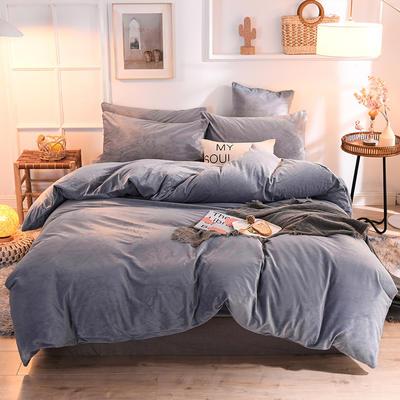 2019新款超柔水晶绒床单款四件套床笠款珊瑚绒法莱绒法兰绒保暖 枕套/对 香槟灰