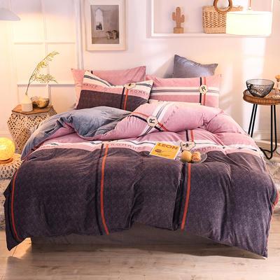 2019新款超柔水晶绒床单款四件套床笠款珊瑚绒法莱绒法兰绒保暖 枕套/对 英伦