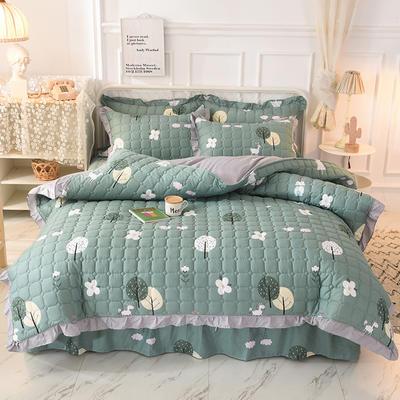 2020新款全套夹棉床裙四件套 夹棉被套1.55*2.05夹棉床裙1.2*2.0 宁静午后