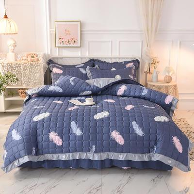 2020新款全套夹棉床裙四件套 夹棉被套1.55*2.05夹棉床裙1.2*2.0 雨叶梦