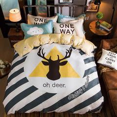 慕她家纺全棉纯棉133*72四件套简约床单被套(抽象生活) 1.5-1.8米床 抽象生活